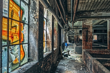 Abandoned factory indoor windows