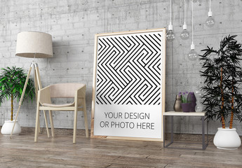 Vertical Poster in Modern Interior Mockup