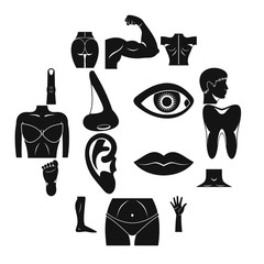 Body parts icons set, simple style