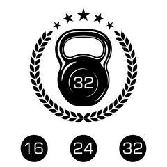 Athletic kettlebell with a laurel wreath and stars. Sports equipment icons for graphic design of logo, emblem, symbol, sign, badge, label, stamp, isolated on white background. Vector illustration.