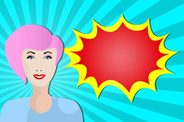 Pop art girl looks at the speech bubble. colorful illustration in retro style.