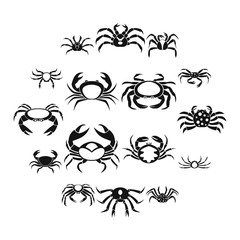 Various crab icons set, simple style