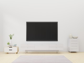 Led TV on white wall with wooden cabinet and plant in pot,3D rendering
