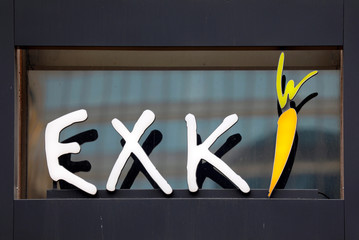 The logo of Belgian fast food restaurant chain EXKi is seen outside one of their restaurants in La Defense business and financial district in Courbevoie