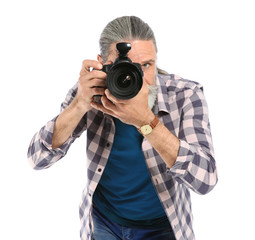 Male photographer with professional camera on white background