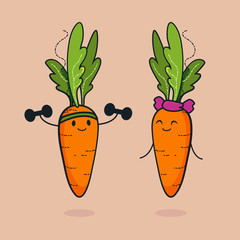Cute carrot cartoon character doing exercises with dumbbells. Eating healthy and fitness. Flat retro style concept illustration. Sports couple, go vegan.