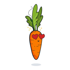 Vintage vegetable poster design with vector carrot character. Vegan giet concept