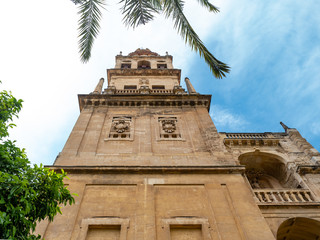 Bell tower of the Cathedral, Great Mosque Mezquita, Cordoba, Andalusia, Spain.