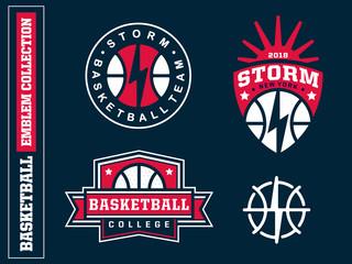 Modern professional basketball logo set for sport team