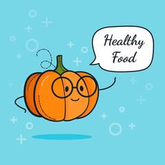 Pumpkin with speech bubble. Balloon sticker. Cool vegetable. Vector illustration. Pumpkin clever nerd character. Healthy food concept. Smart vegan diet poster