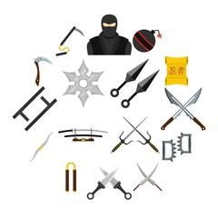 Ninja tools icons set in flat style