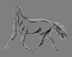 A sketch of a horse trotting freely.