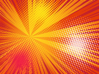 Comics pop art style background. Rays and halftone dot.  Wall mural