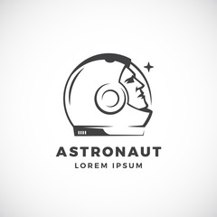 Astronaut Abstract Vector Sign, Emblem, Icon or Logo Template. Face in a Space Suit Helmet Silhouette Looking at the Star.