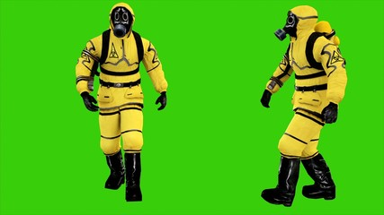 Man in protective hazmat walking on green screen background. 3D rendering