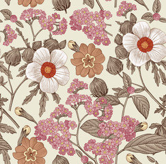 Seamless pattern. Beautiful pink blooming realistic isolated flowers. Vintage background. Prímula, Hibiscus heliotrope mallow wildflowers. Wallpaper. Drawing engraving. Vector victorian Illustration.
