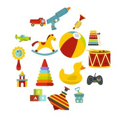 Different kids toys icons set in flat style