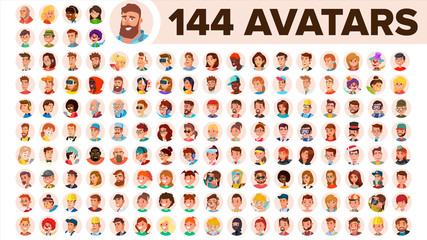 People Avatar Set Vector. Man, Woman. Human Emotions. Anonymous Male, Female. Icon Placeholder. Person Shilouette. User Portrait. Comic Emotions. Flat Handsome Manager. Flat Cartoon Character Wall mural