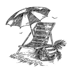 Beach chair, umbrella and bag with towel. Sketch. Engraving style. Vector illustration.