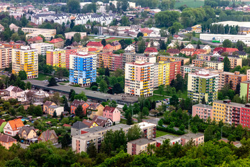 Cityscape of the Krnov town with housing estates