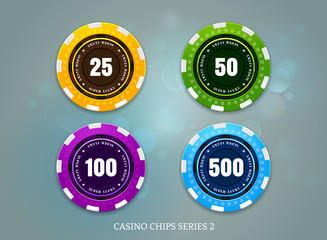 casino coins chips set on bokeh background