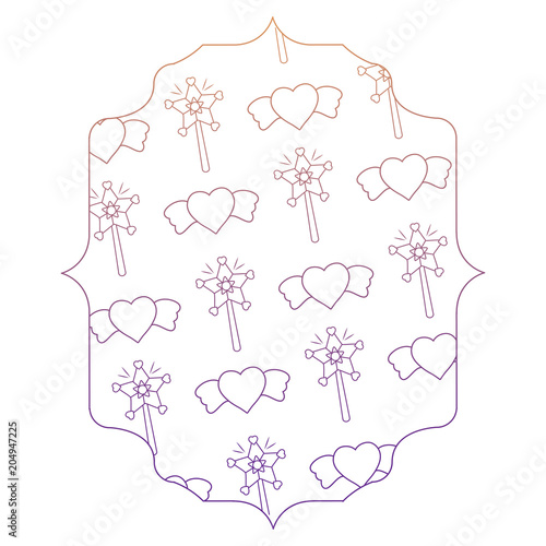 arabic frame with magic wands and hearts pattern over white ...