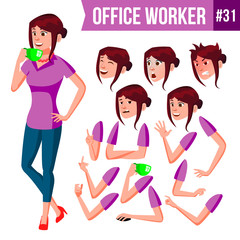 Office Worker Vector. Woman. Happy Clerk, Servant, Employee. Business Human. Face Emotions, Various Gestures. Animation Creation Set. Isolated Character Illustration