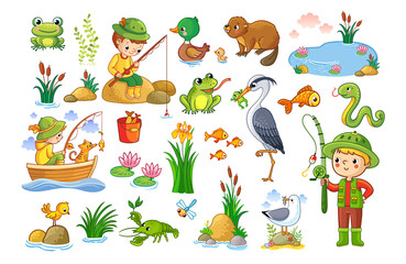 Vector set on a forest children theme. An animal pond. Children are fishing. Collection of vector illustration.