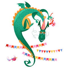 Festive flying dragon with a gift and garlands. Happy birthday!