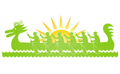 Dragon Boat Festival. Silhouette of a boat with rowers against the background of the sun. A cartoon drawing. Vector graphics