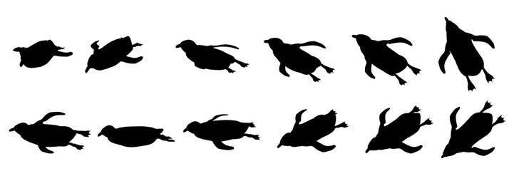 ペンギン シルエット 泳ぐ 水中