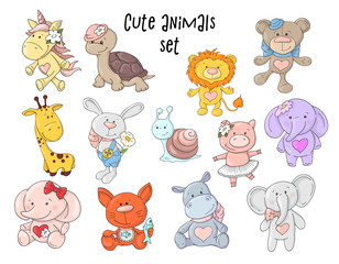 Vector illustration of cute animals set