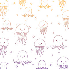 background of jellyfish and octopus pattern, vector illustration