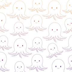background of cute octopus pattern, vector illustration