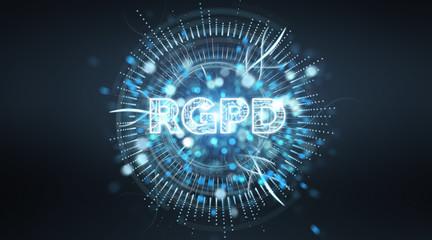 Digital GDPR interface 3D rendering