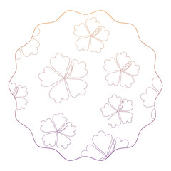 circular frame with tropical flowers pattern over white background, vector illustration