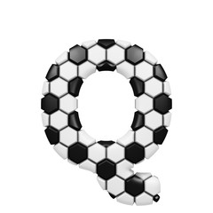 Alphabet letter Q uppercase. Soccer font made of football texture. 3D render isolated on white background.