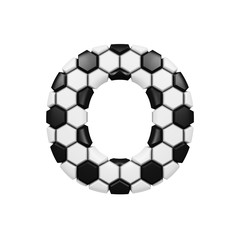 Alphabet letter O uppercase. Soccer font made of football texture. 3D render isolated on white background.
