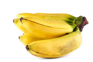 very ripe yellow bunch of bananas on white background. Isolate