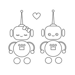 cute cartoon vector robots in love black and white illustration