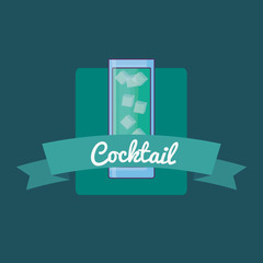 emblem with cocktail drink icon and decorative ribbon over turquoise background, colorful design. vector illustration