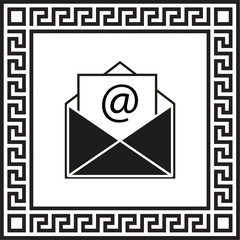 vector icon envelope in a frame with a Greek ornament