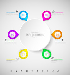 Abstract infographic template with bubbles and steps for your own text.