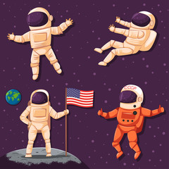 Astronaut in space vector set. Сartoon character of a cosmonaut in a helmet and a spacesuit isolated on a universe background.
