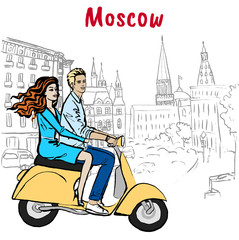 couple driving scooter in Moscow