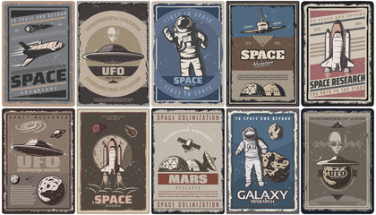 Vintage Colored Space Posters Wall mural