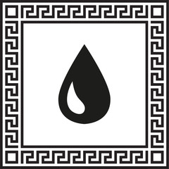 vector icon drop in a frame with a Greek ornament