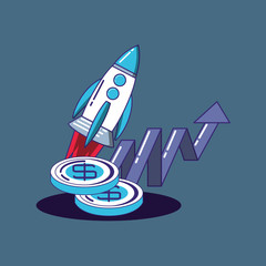 rocket with money coins and financial arrows over blue background, colorful design. vector illustration