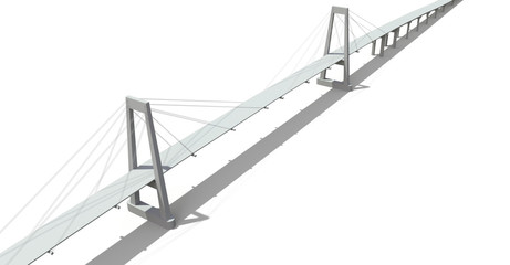 Cable-stayed bridge with a road overpass. 3d rendering.
