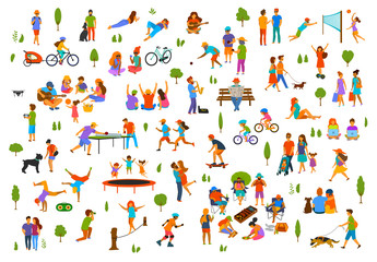 people in the city park nature outdoor collection. man woman children adults family couple friends walk with dogs, talk relax  break dance, play bocce, table tennis,bbq grill, ride bicycle, at picnic